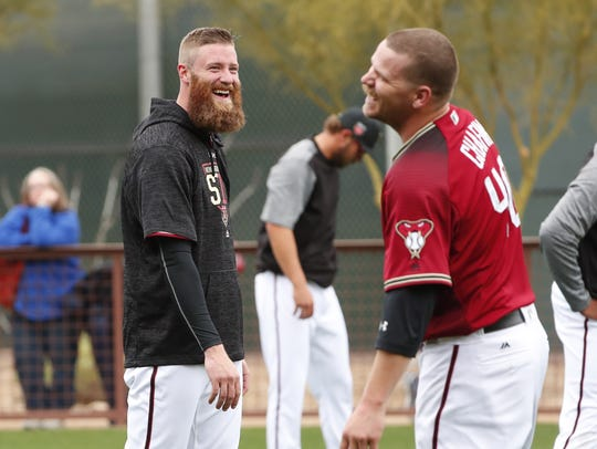 Diamondbacks relievers Archie Bradley (left) and Andrew