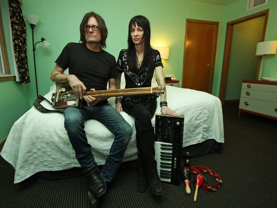 "Purgatory Hill musicians pat mAcdonald and melaniejane are shown in a room at the Holiday Music Motel in Sturgeon Bay. Look for their music and the property to get some exposure on the Travel Channel's ""Hotel Showdown"" on Feb. 10."