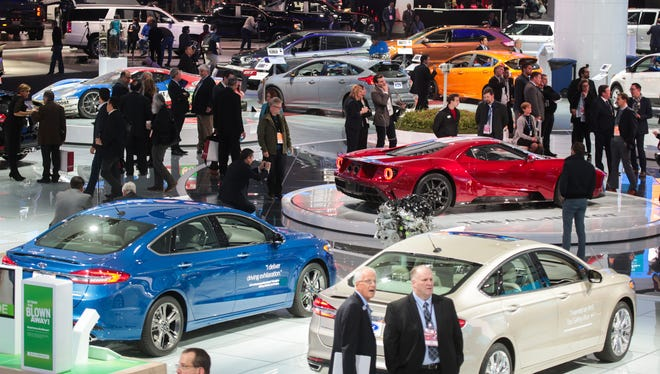An overall of the Ford exhibit area is seen during the 2017 North American International Auto Show at Cobo Center in Detroit on Monday, Jan. 9, 2017.