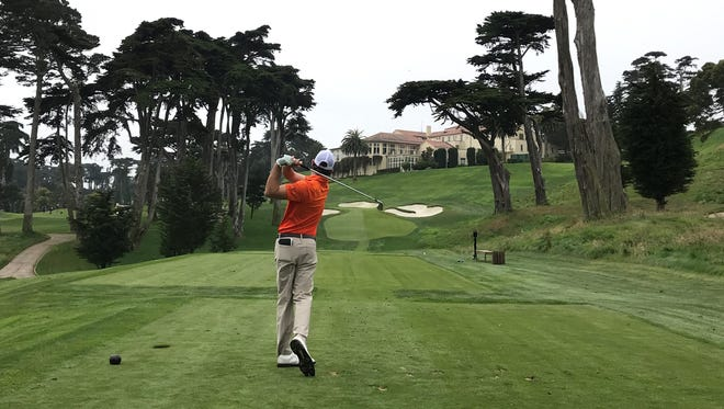 Philip Barbaree Jr. tees off on No. 8 at The Olympic Club, where he finished 28th in the Pacific Coast Amateur last week.