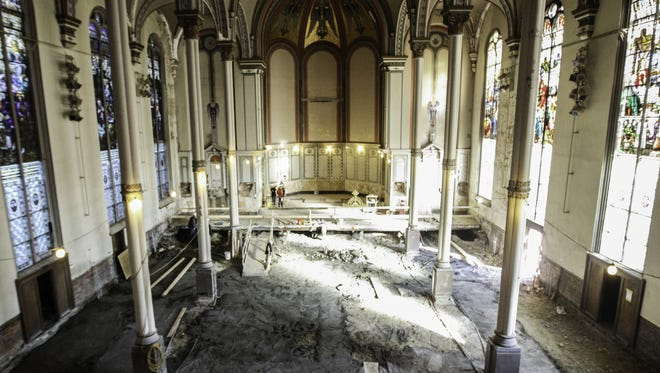 A look from the choir balcony of Old St. George Church in Corryville, where renovations are underway.