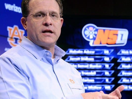 Auburn head coach Gus Malzahn speaks about his 2017 recruiting class during an NCAA college football news conference on national signing day, Wednesday, Feb. 1, 2017, in Auburn, Ala. (Julie Bennett/AL.com via AP)