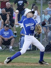 Owen Stewart delivers a pitch for Horseheads in a 25-1 win over Fayetteville-Manlius in the Section 1 East Little League 10-12 championship game Thursday night at Horseheads.