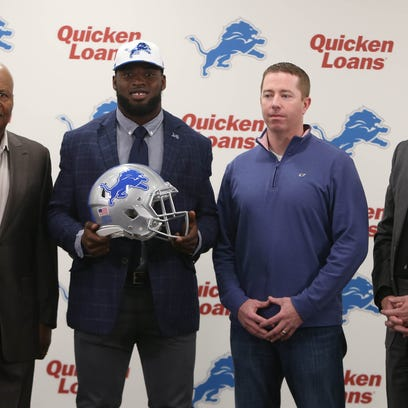 (From left) Lions coach Jm Caldwell, first round draft