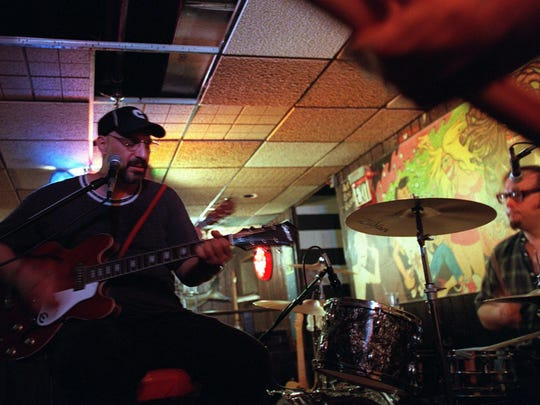 Pat DiNizio and Dennis Diken of the Smithereens do their soundcheck before a performance at the Court Tavern in New Brunswick on July 30, 1998.