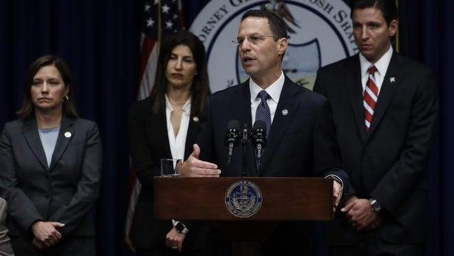 Pennsylvania Attorney General Josh Shapiro speaks during a news conference at the Pennsylvania Capitol in Harrisburg, Pa., Tuesday, Aug. 14, 2018. (AP Photo/Matt Rourke)