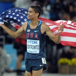 Aug 4, 2012; London, United Kingdom; Ryan Bailey (USA), left, reacts after competing in the men's 100m heats during the 2012 London Olympic Games at Olympic Stadium. Mandatory Credit: Robert Deutsch-USA TODAY Sports