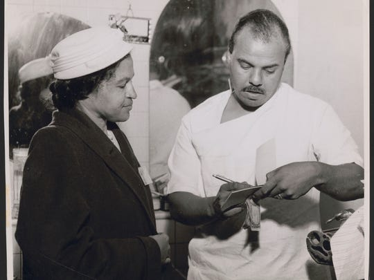 Rosa Parks collecting NAACP membership dues of $2.00,