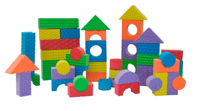 This photo provided by Wayfair.com shows Edushapeâ??s Textured Toy Blocks which are  washable, textured foam blocks that come in a variety of sizes and colors so young children can practice a range of early building and designing skills.