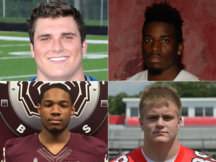 Danny Godlevske (upper left) of Bishop Chatard, Josh Hayes (upper right) of Pike, Gerrid Doaks (lower left) of Lawrence Central and Cameron Tidd (lower right) of Center Grove are considered among the best Central Indiana high school football players for 2015.