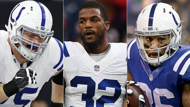 Left to right: Jack Mewhort, T.J. Green and Eric Swoope are among the Colts under the most pressure this season.