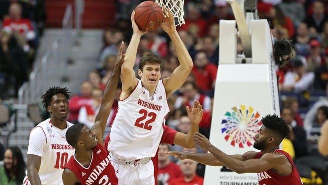 Wisconsin forward Ethan Happ (22) had 14 points and 12 rebounds Friday against Indidna.