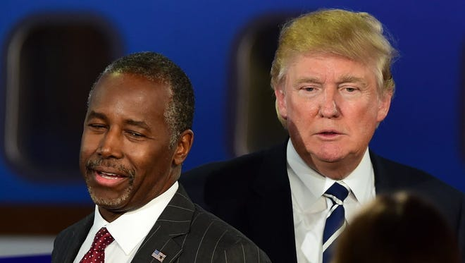 Ben Carson and Donald Trump at the GOP presidential debate in Simi Valley, Calif., on Sept. 16, 2015.