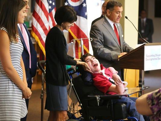 July 13, 2016. Gov. John Kasich, Disability, Bill, St. Joseph Home, Liz Dufour