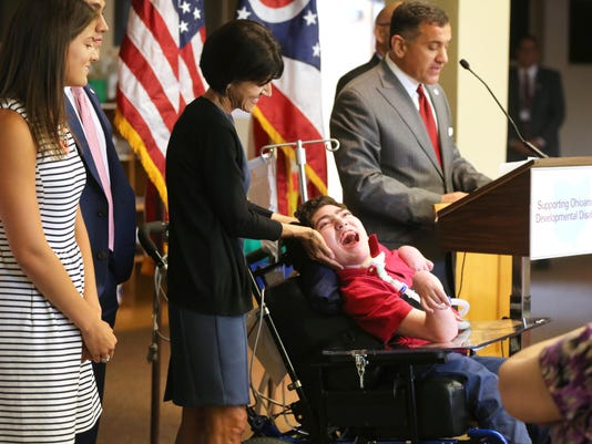 July 13, 2016. Gov. John Kasich, Disability, Bill, St. Joseph Home, Liz Dufour