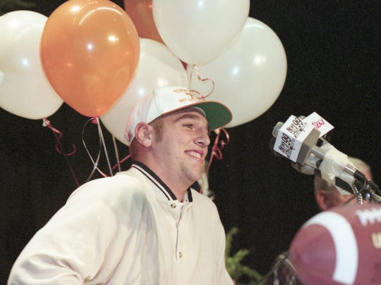 Joey Mathews of Sevier County High School, then the top quarterback prospect in the state, announces his choice of the University of Tennessee on Dec. 19, 1997. Matthews chose the Vols over Auburn. Photo by Paul Efird