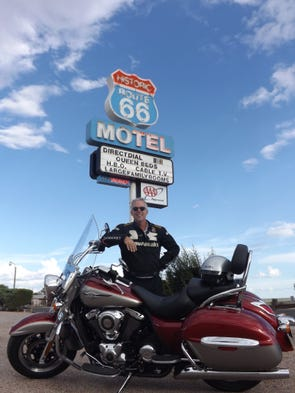Riding a stretch of Route 66 in Seligman, Ariz.