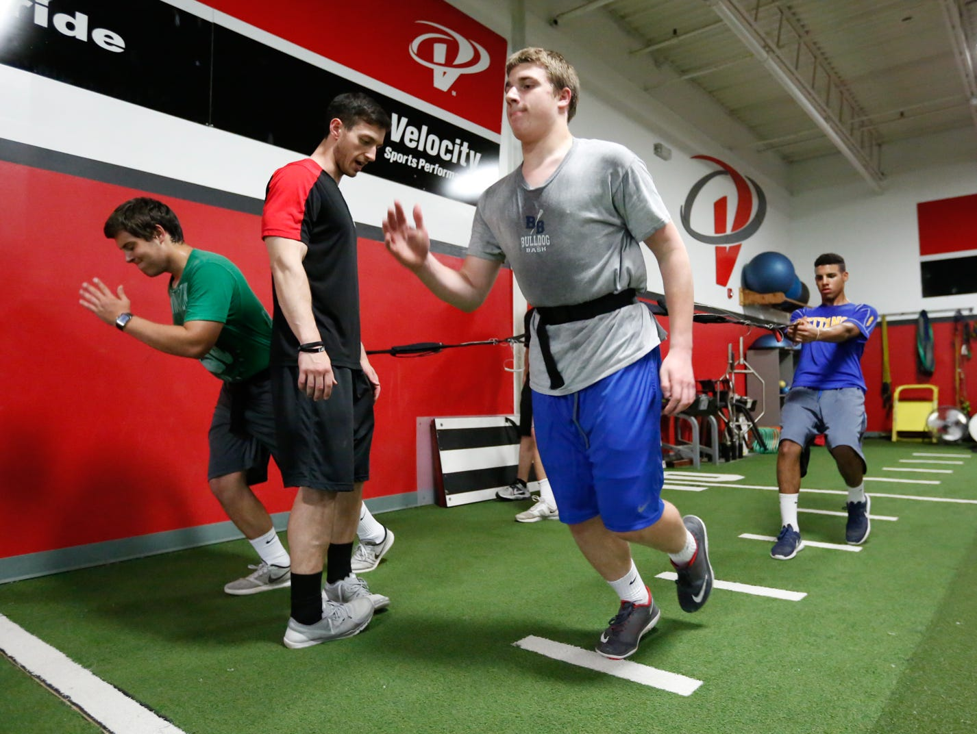 High school and college athletes work out at Velocity Sports Performance in Elmsford on Wednesday, June 01, 2016.
