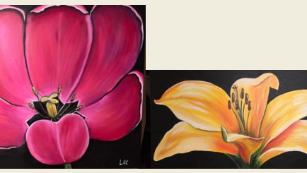 Lucy Mathers, Fond du Lac artist, will showcase her acrylic flower art paintings.