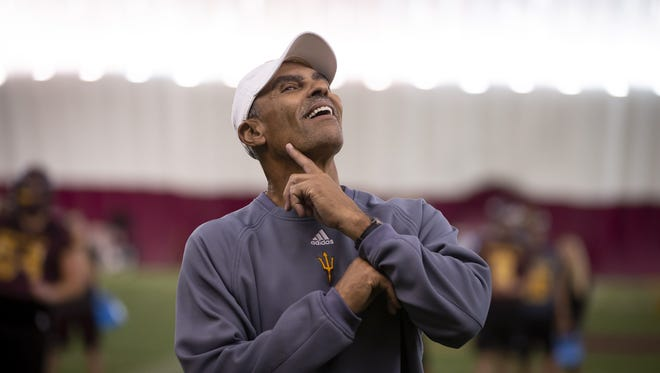 Head football coach Herm Edwards of the Arizona State Sun Devils smiles during a practice at Arizona State University on Sunday, October 28, 2018 in Tempe, Arizona.