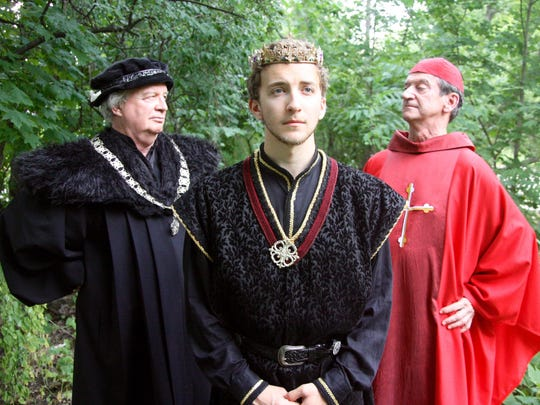 """Dave Dietrich (Gloucester), Tyler Sapp (Henry VI) and Jack Sherman (Cardinal Winchester) star in the Ithaca Shakespeare Company's production of """"Henry VI."""""""