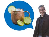 Moscow Mule mug with limes and ice