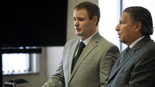 Brandon Verfaillie, 32, of Chesterfield Township, stands next to his lawyer, James Thomas, during his sentencing Tuesday in the courtroom of Judge Michael West. Verfaillie was sentenced to five to 15 years in the August 2014 boat crash that killed Robert Koontz, 52, and Nancy Axford, 68.