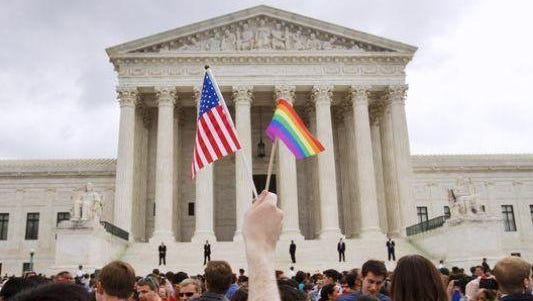A Crowd celebrates the Supreme Court ruling on gay marriage.