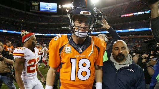 Peyton Manning following the Broncos' 29-13 loss to the Chiefs in Denver on Nov. 15, 2015.
