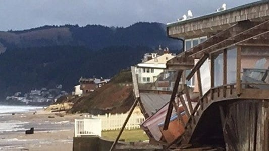 A balcony damaged by a storm this weekend on the Oregon coast.