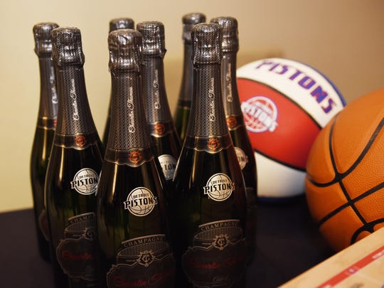 Bottles of  Cheurlin Champagne on display Wednesday night at The Palace of Auburn Hills.