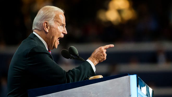 Vice President Joe Biden speaks during the third day of the Democratic National Convention at the Wells Fargo Center in Philadelphia on Wednesday night.