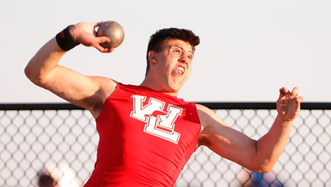 George Karlaftis of West Lafayette defended his state shot put championship Saturday.