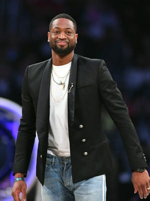 Miami Heat player Dwyane Wade in attendance during the skills challenge at Staples Center.
