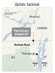 Map locates Roxham Road, upstate New York.