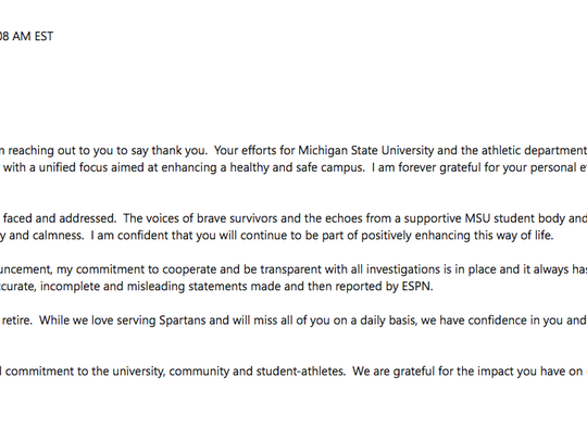 An email Mark Hollis sent to the Michigan State staff on Thursday, Feb. 15, 2018. Hollis resigned as the MSU athletic director following an ESPN report that was critical of the university's handling of sexual assault cases.