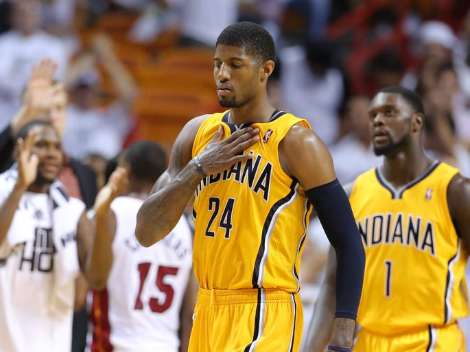 Paul George (24) during Game 6 of the Eastern Conference Finals between the Indiana Pacers and the Miami Heat inside American Airlines Arena, Friday, May 30, 2014, in Miami, Fla.