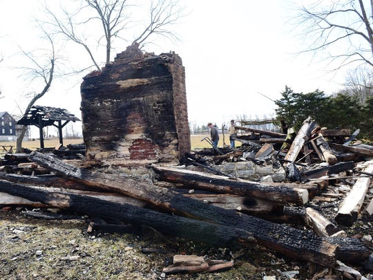 A cabin burned to the ground during a fire at Conocheague Institute early Monday morning, Feb. 29, 2016.