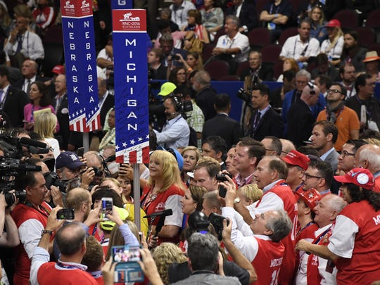 Michigan's delegation casts its votes Tuesday at the Republican National Convention in Cleveland.