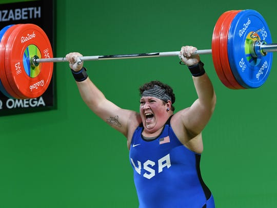 USA's Sarah Elizabeth Robles competes during the Women's weightlifting +75kg event at the Rio 2016 Olympic Games in Rio de Janeiro on August 14, 2016 / AFP / GOH Chai Hin        (Photo credit should read GOH CHAI HIN/AFP/Getty Images)