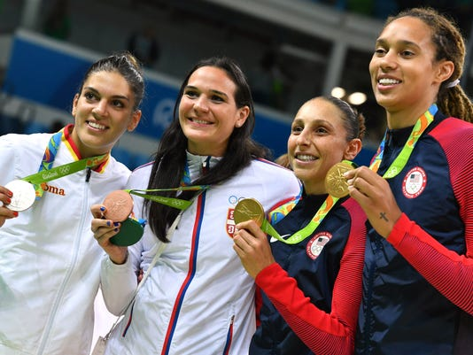 BASKETBALL-OLY-2016-RIO-USA-ESP-SRB-PODIUM