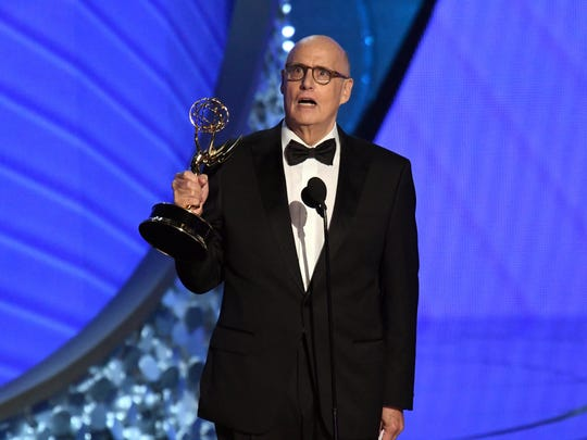 "Jeffrey Tambor called for Hollywood to ""give transgender talent a chance,"" accepting the award for outstanding lead actor in a comedy series for 'Transparent.'"