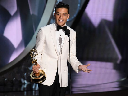 Rami Malek accepts the award for Outstanding Lead Actor