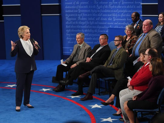 Oct 9, 2016; St. Louis, MO, USA;  Democratic presidential candidate Hillary Clinton during the second presidential debate at Washington University in St. Louis. Mandatory Credit: Jack Gruber-USA TODAY NETWORK