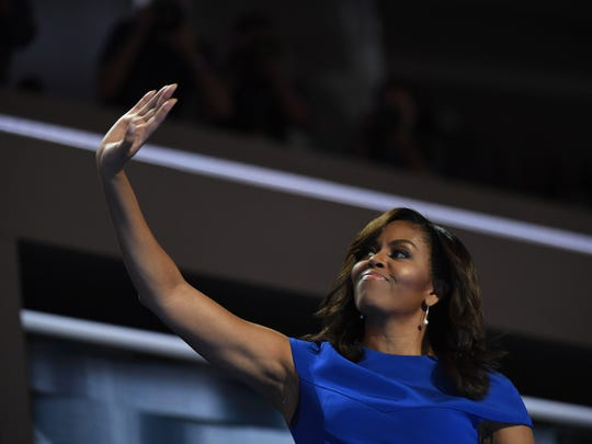 First lady Michelle Obama takes the stage during the 2016 Democratic National Convention at Wells Fargo Arena in Philadelphia.