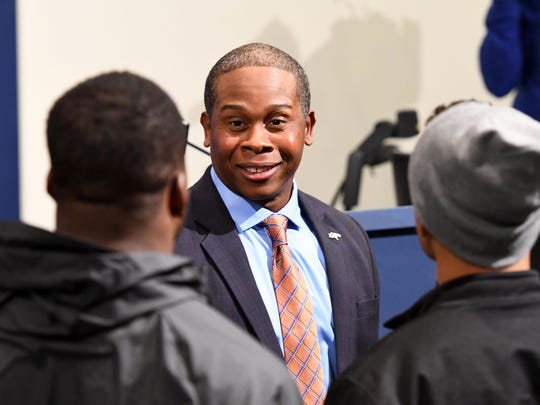 Jan 12, 2017; Englewood, CO, USA; Denver Broncos head coach Vance Joseph speaks to players following his press conference at UCHealth Training Center.