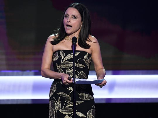 Julia Louis-Dreyfus accepts the award for Outstanding Performance by a Female Actor in a Comedy Series for her role as President Selina Meyer in 'Veep.'