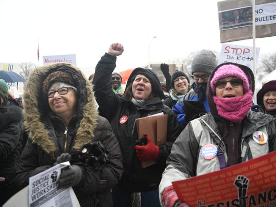 Fran Ehret of Jamesburg, NJ, center, cheers as Senator Loretta Weinberg (D) speaks. Jamesburg said she has been travelling all over the state to short her support of numerous anti-Trump protests and rallies, like the unity rally held at the Bergen County Courthouse in Hackensack, NJ on Sunday, February 12, 2017.