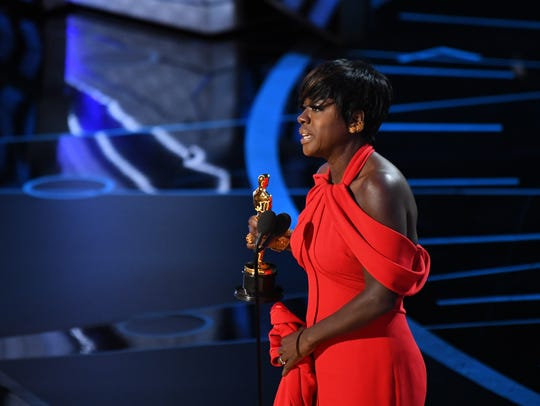 Viola Davis accepts the Oscar for best supporting actress