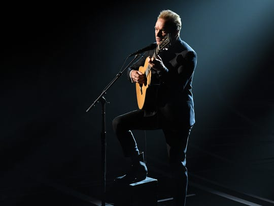 Sting performs the Oscar nominated song 'The Empty Chair' from 'Jim: The James Foley Story' during the 89th Academy Awards'